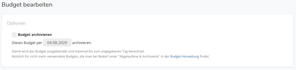 Budgets archivieren, Tägliche Budgets