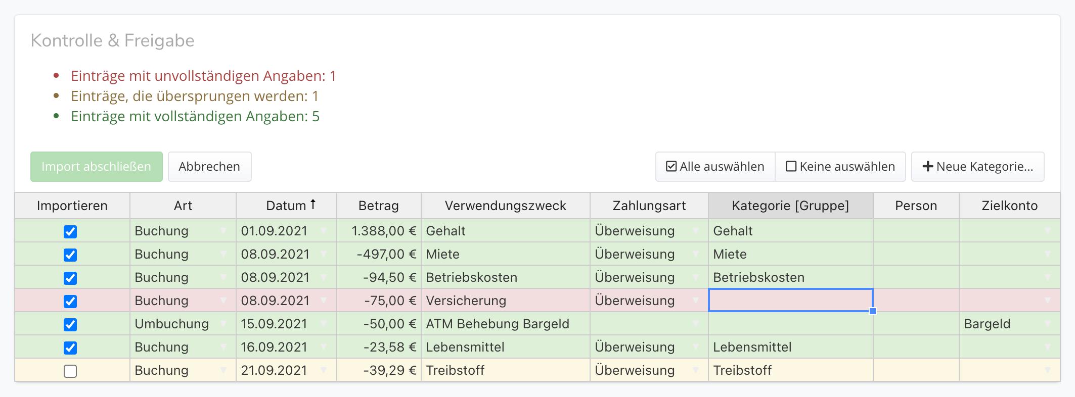 CSV-Import abschließen