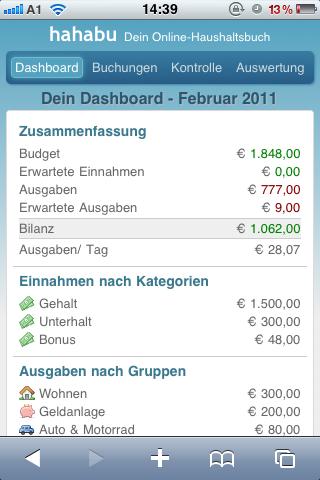 Mobiles Dashboard (Apple iPhone)